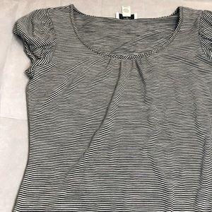 Ann Taylor loft black and white striped shirt